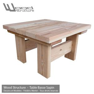 Table basse Sapin pour salon de jardin - Table basse en bois - Wood ...