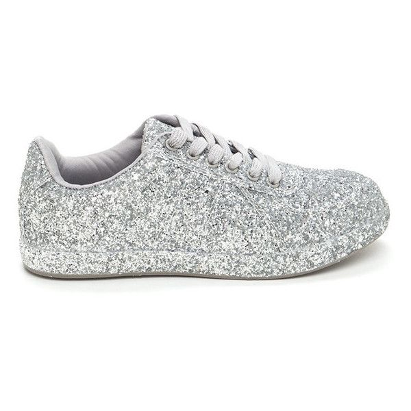 Super Sparkly Glitter Platform Sneakers ❤ liked on Polyvore featuring  shoes 0fa2b32cb