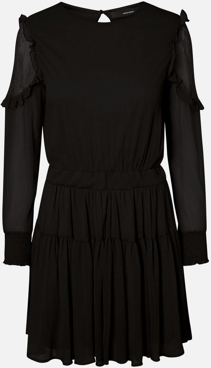 VERO MODA Feminines Kleid mit langen Ärmeln in schwarz ...