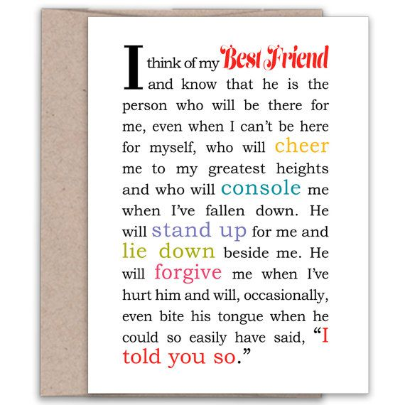 Card For MALE Best Friend