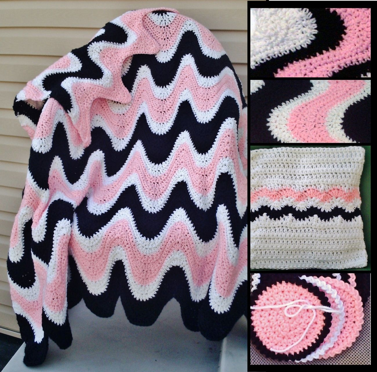 Crochet pattern 102b pdffor 3 color exaggerated ripple afghan crochet pattern 102b pdffor 3 color exaggerated ripple afghan pillow coasters bankloansurffo Images