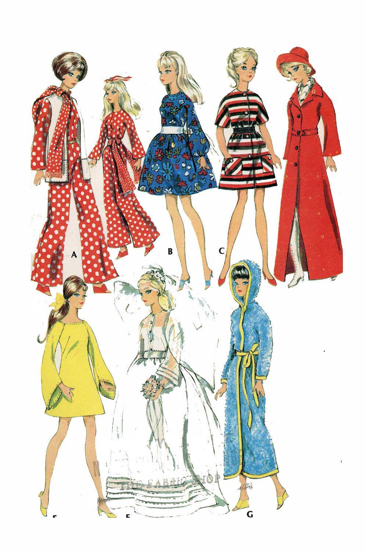 1970s Vintage Barbie Doll Clothing Pattern 3429 Wrap