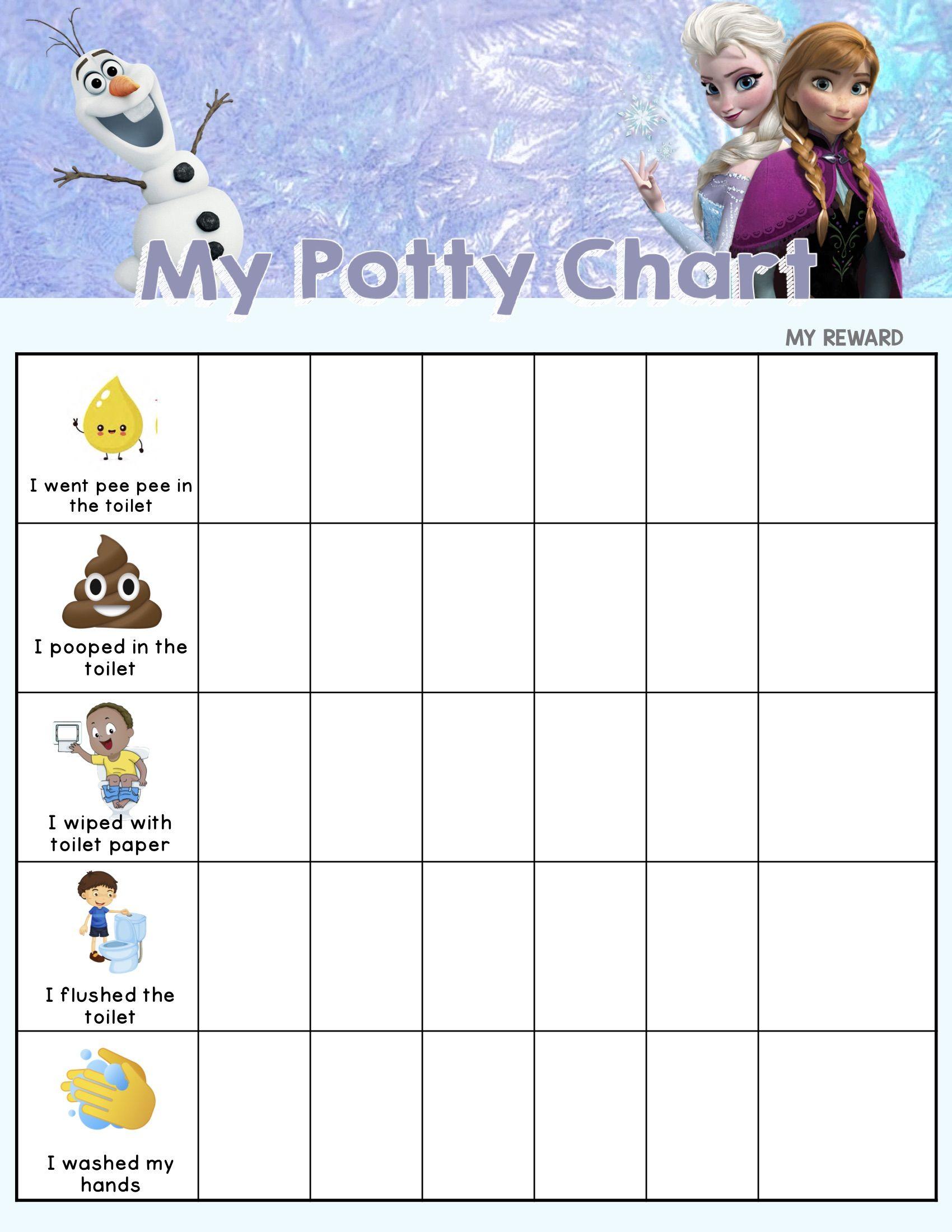 Frozen Potty Chart In 2020 Potty Chart Potty Training Sticker Chart Potty Training Kids