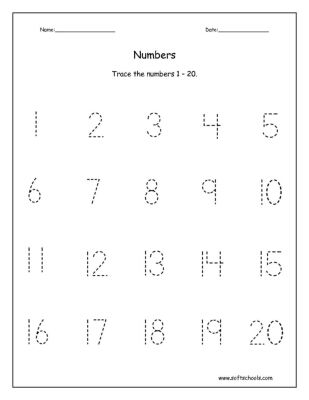 Trace The Numbers 1 20 Worksheet | Counting | Pinterest | Worksheets ...