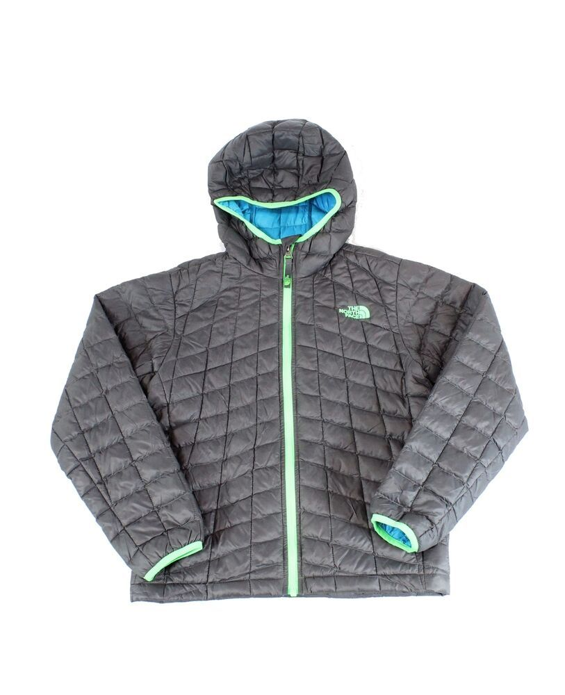 The North Face Gray Boys Size Medium M Thermoball Hooded Jacket 149 110 North Face Resolve Jacket Kids North Face Jackets North Face Hoodie [ 1000 x 813 Pixel ]