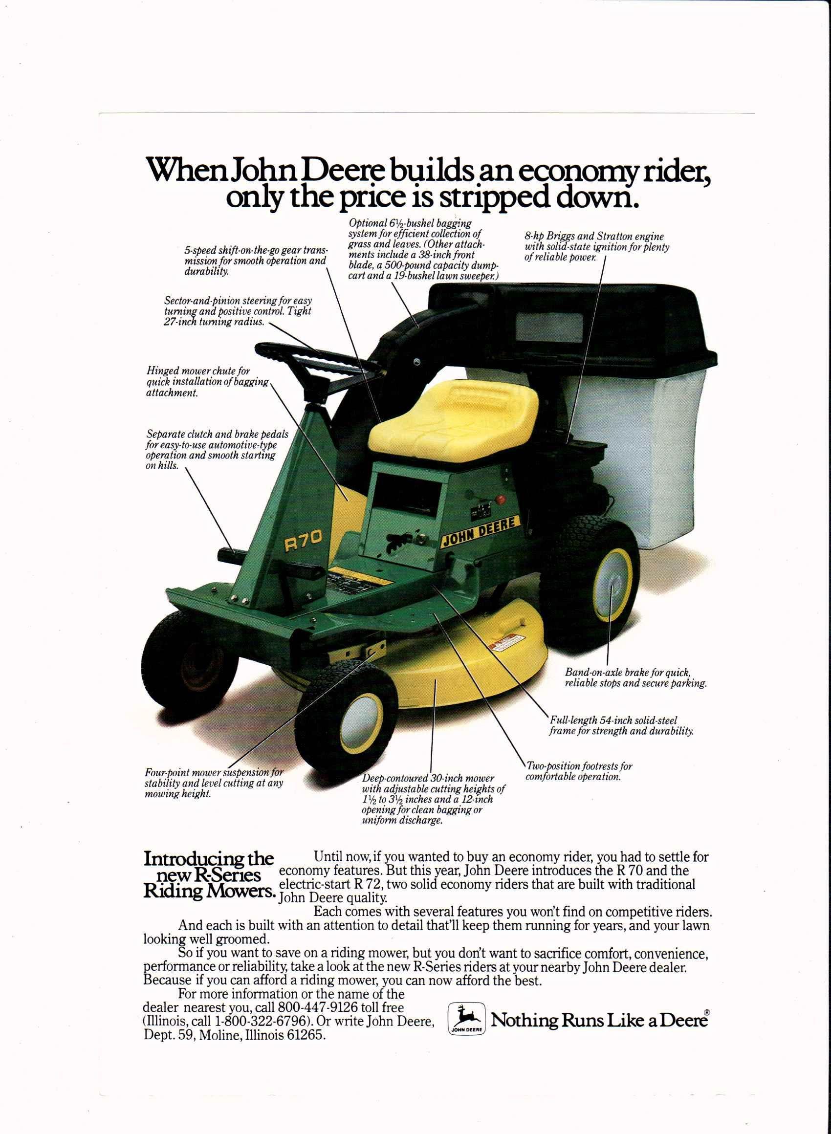 1984 John Deere R70 R Series Riding Mowers