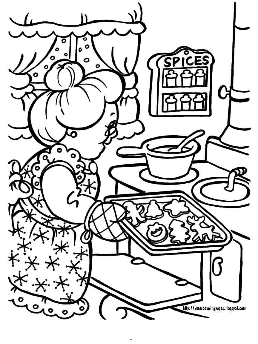 Mrs Claus baking cookies (864×1152) Christmas coloring