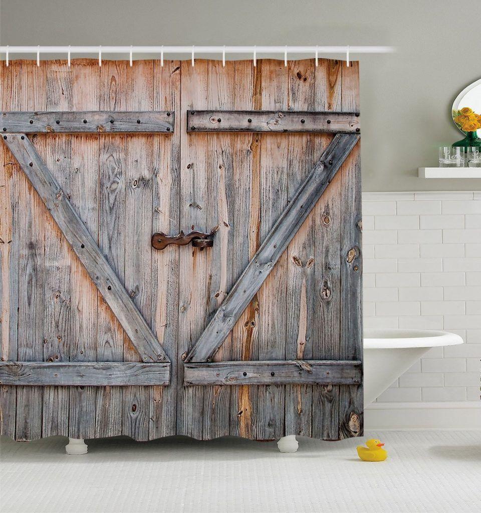 Rustic Barn Door Shower Curtain Rustic Shower Curtains Barn Door Shower Curtain Wooden Barn Doors