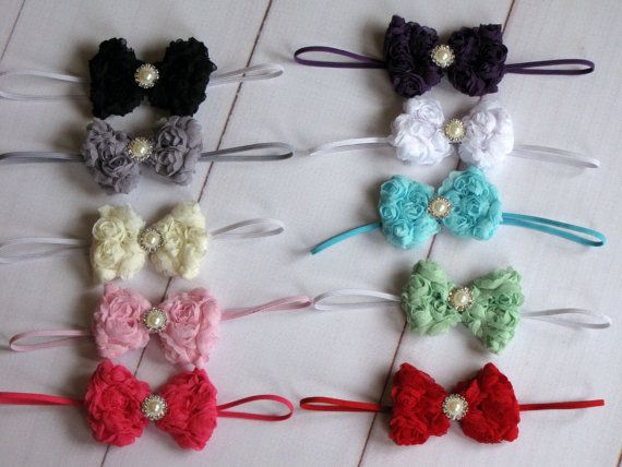 Cute little Bows on a Headband OR Clip. Perfect Photo Prop on Etsy, $3.75