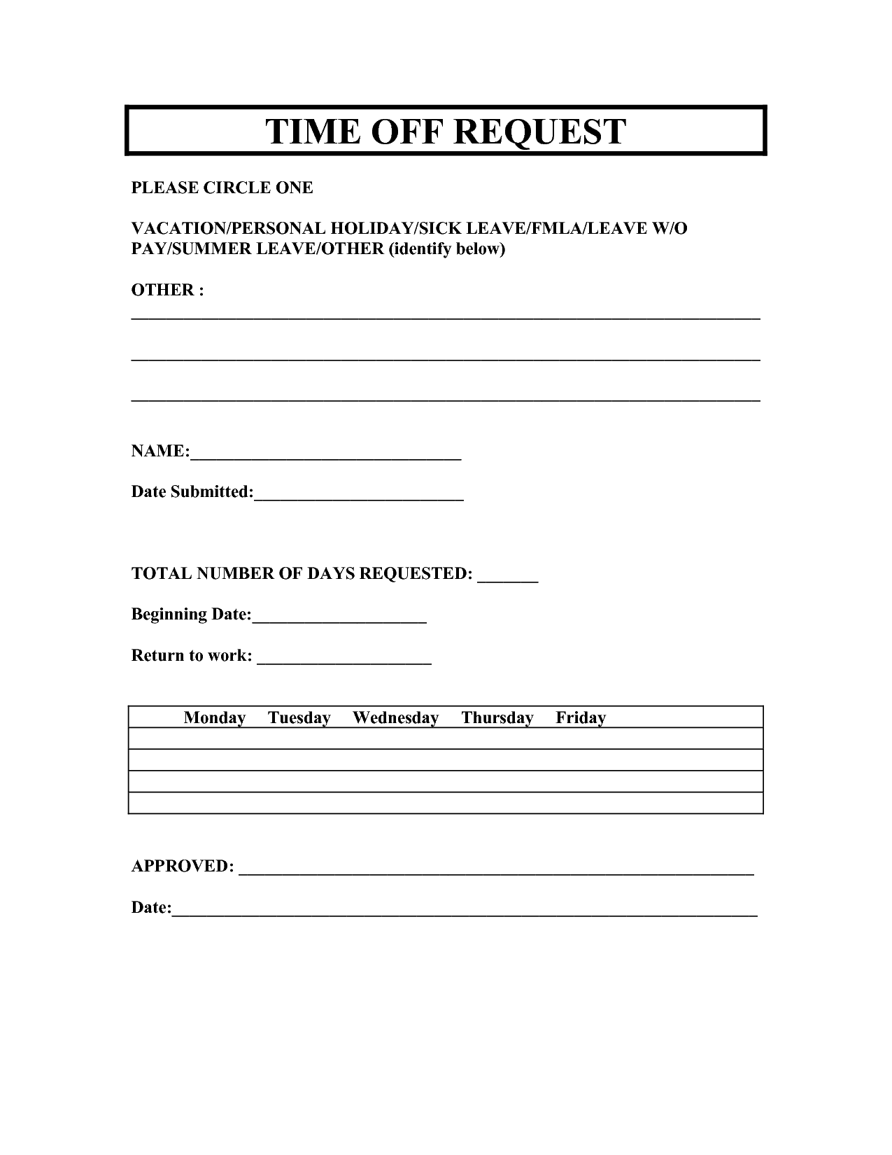 vacation request forms 2014 free printable | Printable ...