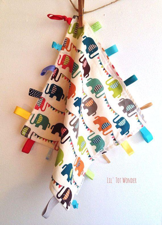 Elephant Organic Lovey Blanket by LilTotWonder on Etsy, $27.00