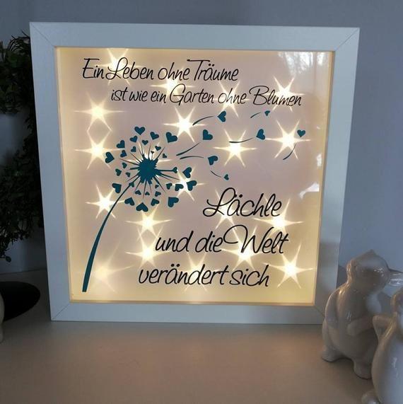 Leuchtrahmen Pusteblume mit Spruch Bild #etsystore