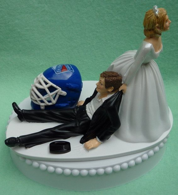 Wedding Cake Topper New York Rangers Ny Hockey Themed W Bridal Garter Humorous Bride Groom Unique Sports Fans Funny Helmet Mask Puck Top