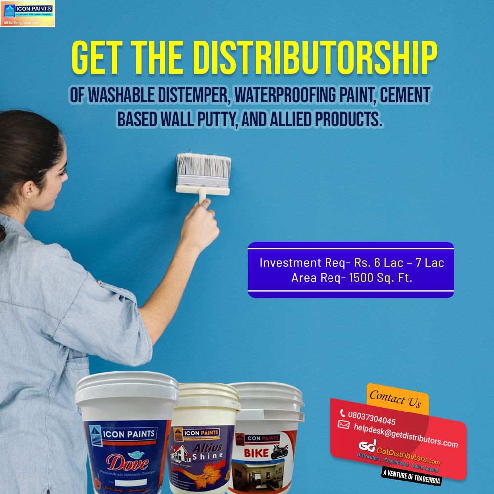 Need Distributors For Washable Distemper Waterproofing Paint Wall Putty Waterproof Paint Paint Icon Washable