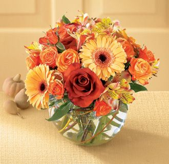 Fall Gerbera Daisy Bouquet peach alstroeme...