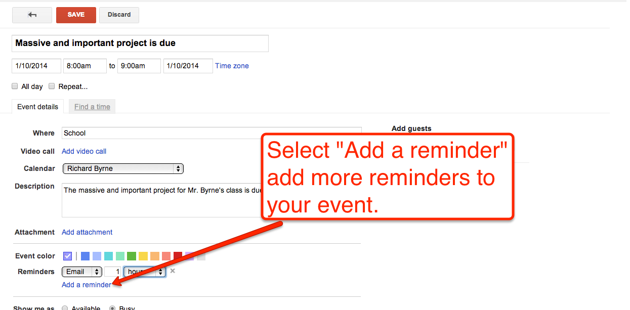 Free Technology for Teachers: How to Create Google Calendar Event Reminders