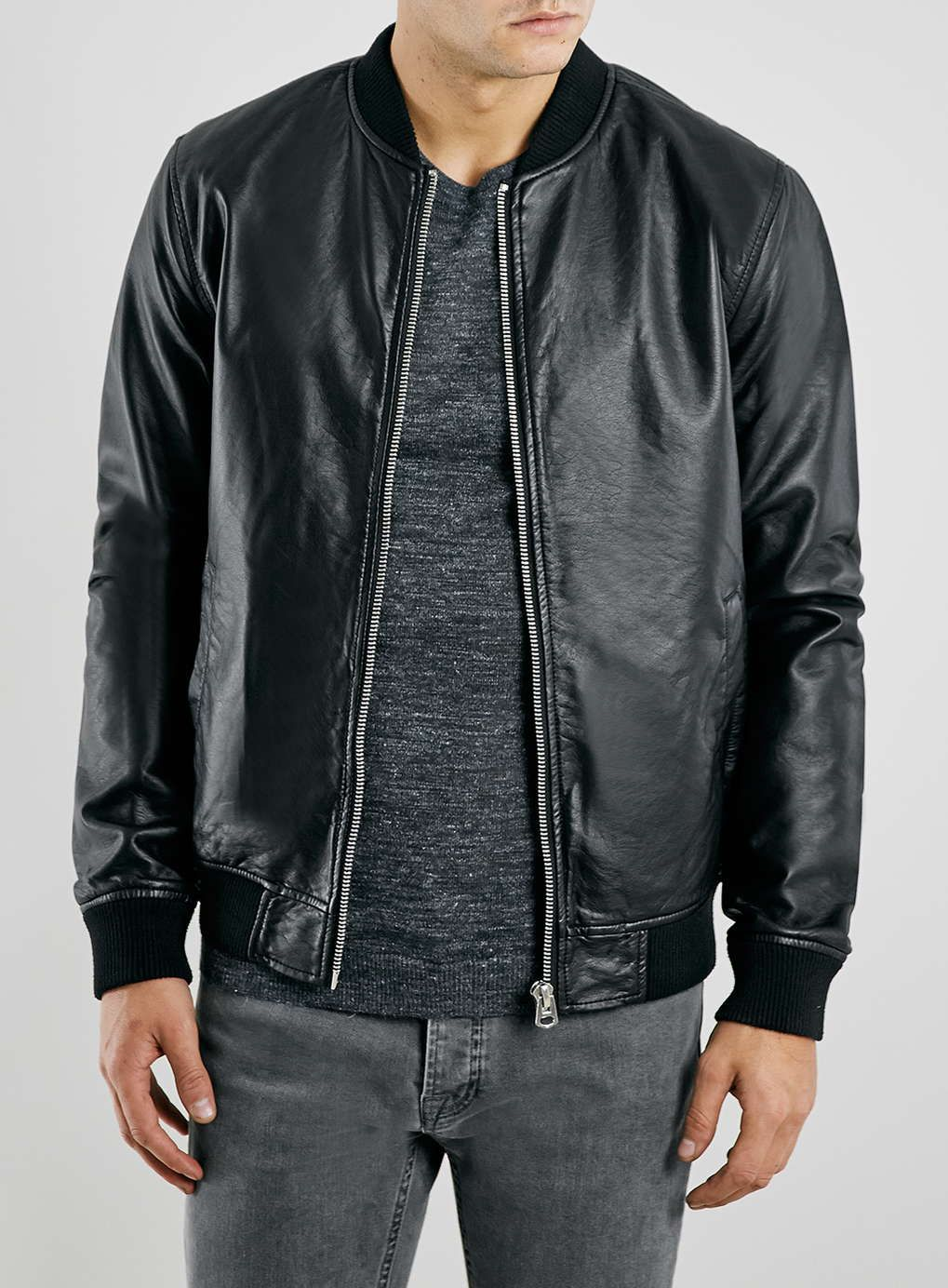 Black Leather Look Bomber Jacket | Bomber jackets Nyc and Bombers