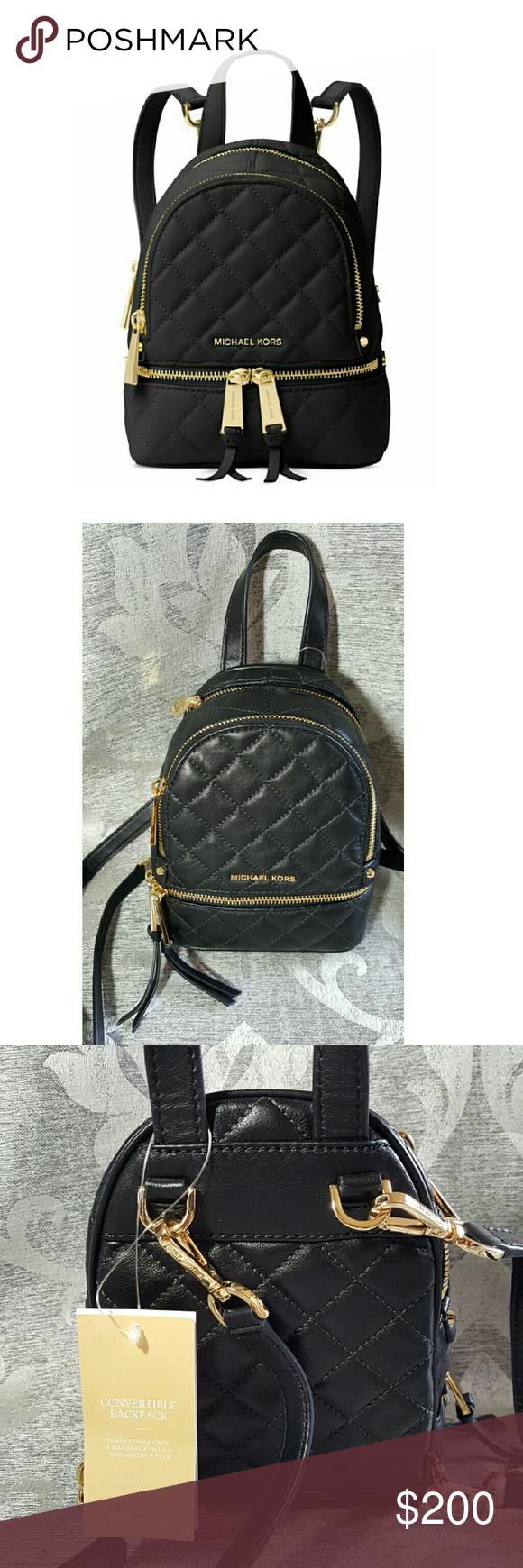 16f17cd18b1d Michael Kors Rhea Mini Backpack NEW Michael Kors Rhea Zip Mini Messenger  Backpack in Black!