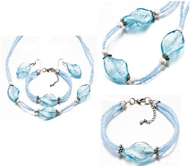 Pugster Pale Blue Necklace Bracelet And Earrings Set
