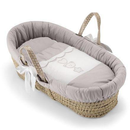 babykorb birillio voll ausgestattet mit matratze und bett textilien korbgeflecht aus palmblatt