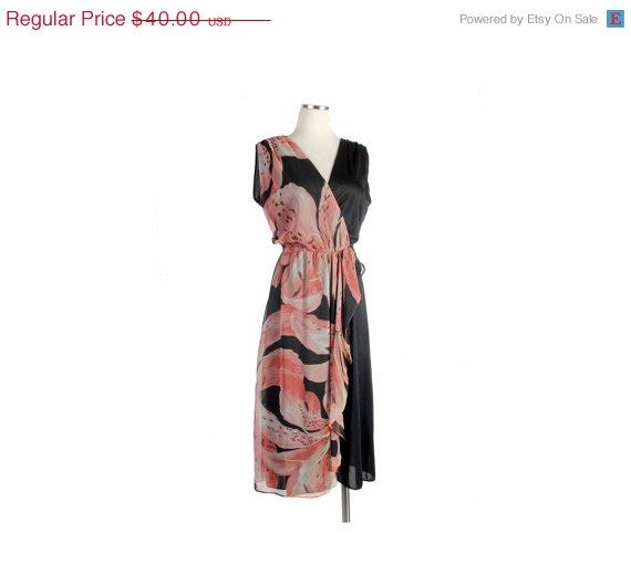 Etsy Sale!  25% off everything including this Vintage 70s Disco Wraparound Dress Peach by northstarvintage, $30.00