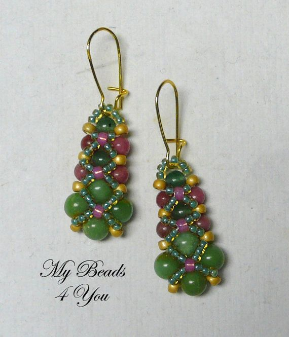 Beaded Earrings Beadwoven Earrings Seed Bead by mybeads4you, $25.00