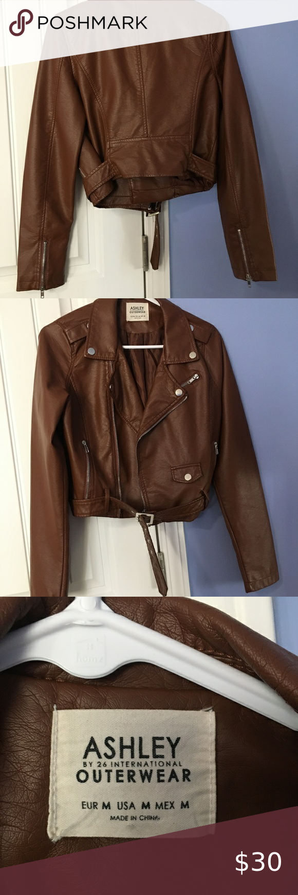 New Brown Leather Jacket With Metal Accents M Brown Leather Jacket Leather Jacket Jackets [ 1740 x 580 Pixel ]