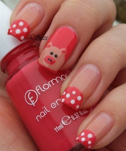 Piggy Nails by BeautyBySuzi - Nail Art Gallery by Nails Magazine - Piggy Nails Nails Pinterest Pig Nails, Nail Decorations And