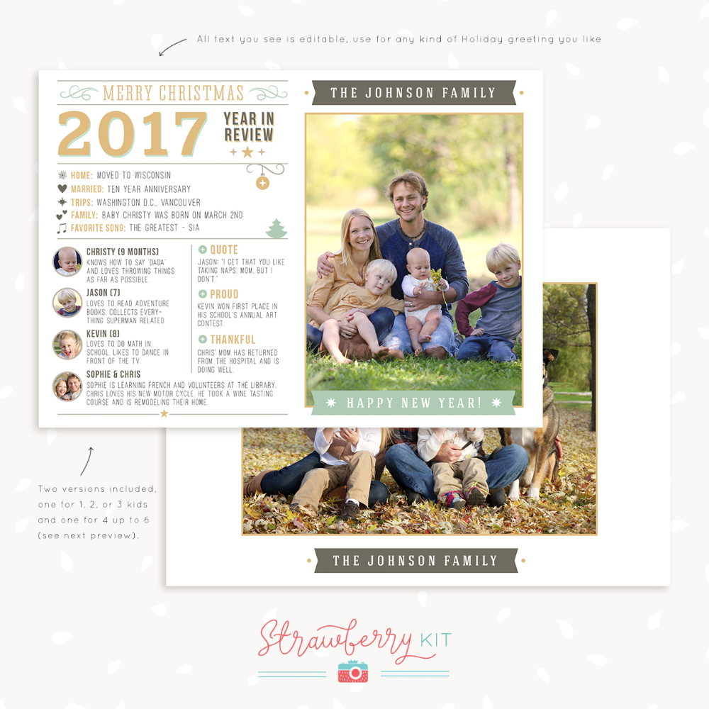Google Image Result For Https Strawberrykit Com Wp Content Uploads 2017 10 Year In Review Template Chri Christmas Card Template Christmas Cards Card Template