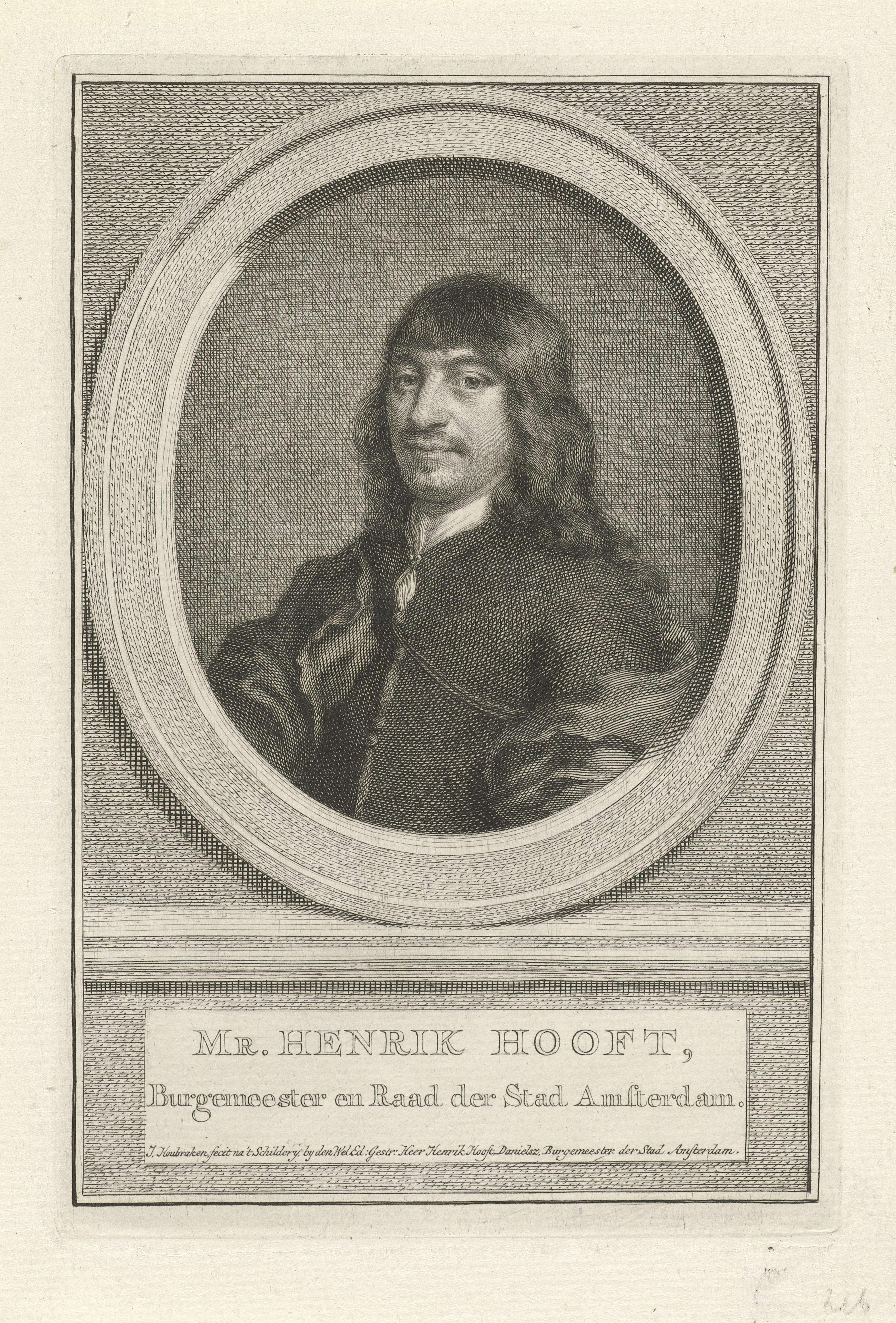 Jacob Houbraken | Portret van Henrick Hooft, Jacob Houbraken, 1749 - 1759 | Buste naar links van Henrick Hooft in een ovaal. Het portret rust op een plint waarop zijn naam en gegevens in twee regels in het Nederlands.