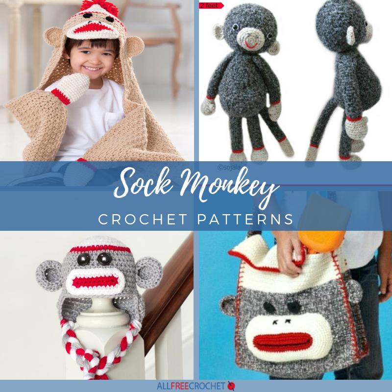 20+ Sock Monkey Crochet Patterns #sockmoneky
