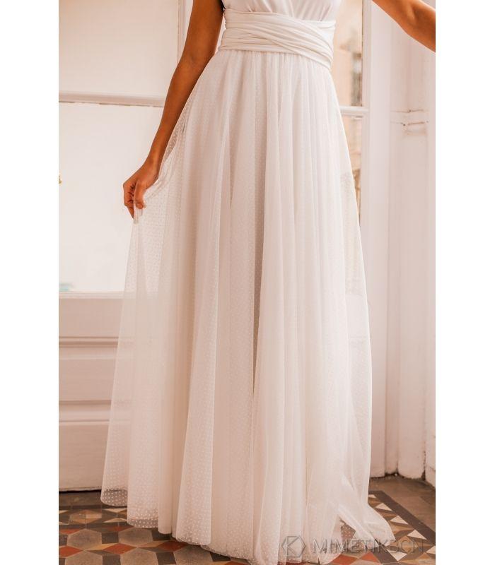 falda plumeti tul blanco para novia- falda larga de tul accesoria