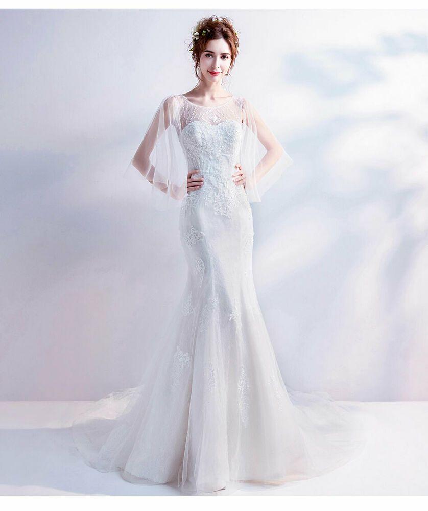 Women White Chiffon Wedding Dresses Mermaid Beaded Crystal Bridal