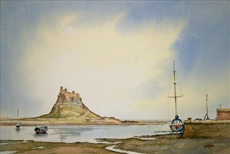 Across the Harbour at Lindisfarne Northumberland, Watercolour, Steve H Letchford, SAA Professional Members' Galleries