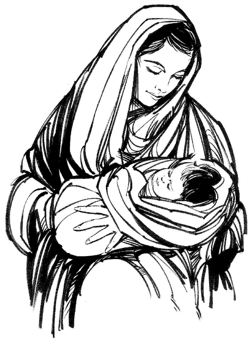 Pencil Drawn Image Of Mother Of Jesus Black And White