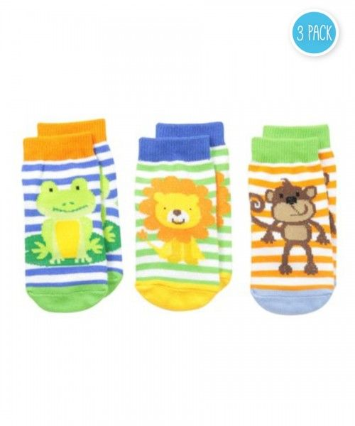 Jefferies Socks Baby Boys Jungle Lion Monkey Frog 3 Pair Pack Socks