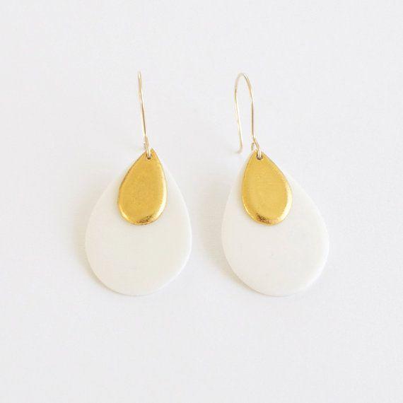 e s s i a petals gold amp white porcelain dangle by byloumi