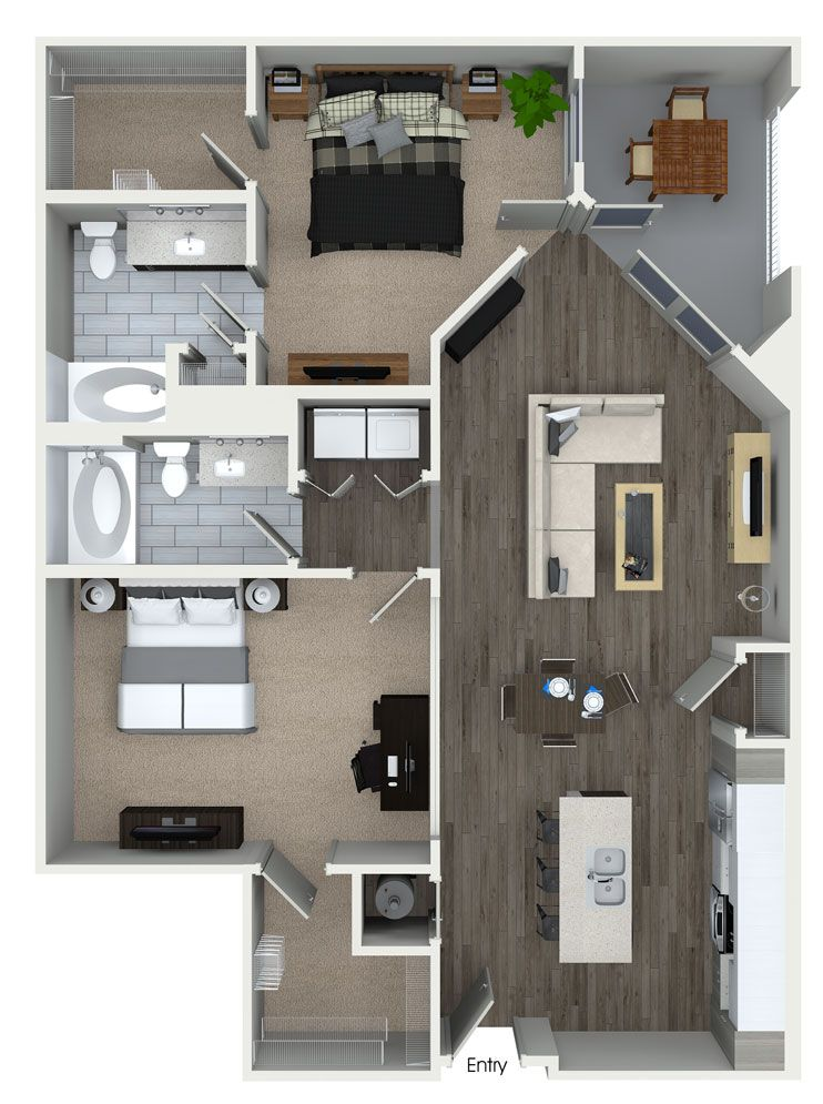 2 Bedroom 2 Bathroom Floorplan At 555 Ross Avenue Apartments In Dallas Tx House Plans House Layouts House Design