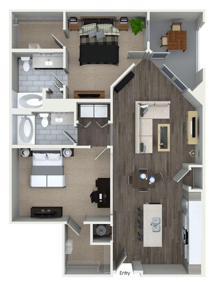 2 Bedroom, 2 Bathroom Floorplan At 555 Ross Avenue Apartments In Dallas, TX.
