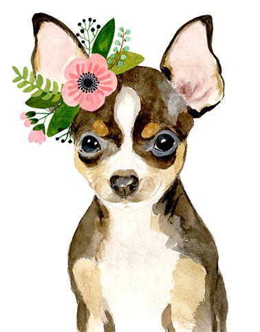 Watercolor chihuahua, watercolor dog, watercolor animal, kids posters, prints, nursery animals, nursery decor, watercolor puppy