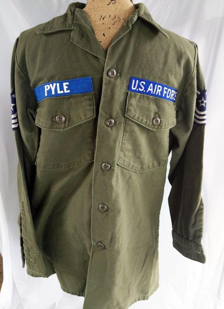 de6de21dfd Vietnam War Fatigue Shirt Utility Cotton Sateen OG 107 Air Force Men s 15.5  x 33
