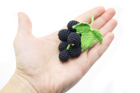1 Pcs  Crochet black Currant crochet fruit teether от MiniMoms