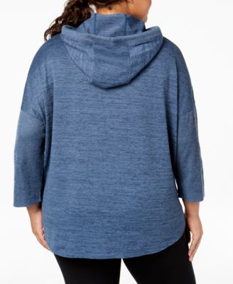 f4479757352 Calvin Klein Performance Plus Size Cowl-Neck Curved-Hem Hoodie - Brown 1X