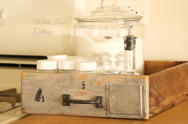 vintage drawer spice caddy white lace cottage