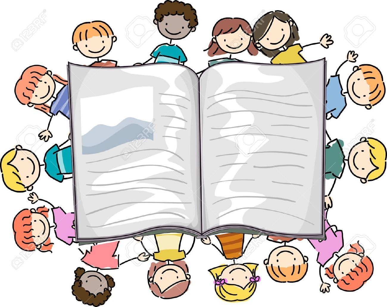Dibujos De Niños Leyendo