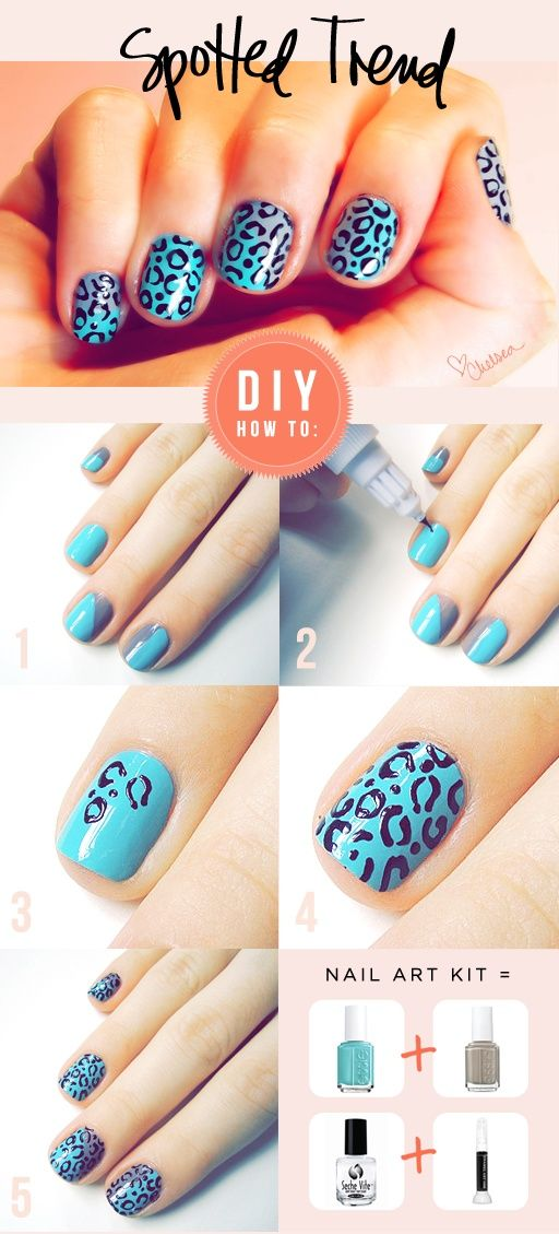 Blue And Gray Nail Polish Cheetah Print Creative Nails Leopard Nails How To Do Nails