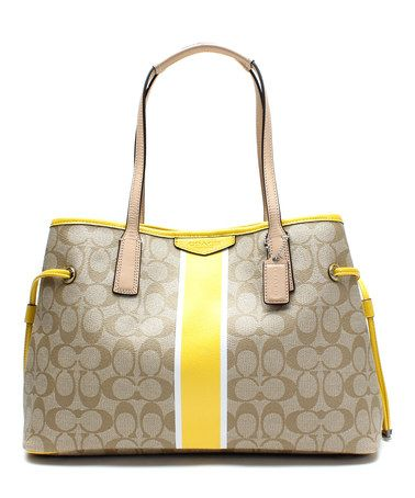 3267c9b6de88 Look what I found on  zulily! Light Khaki   Yellow Signature Stripe Satchel   zulilyfinds