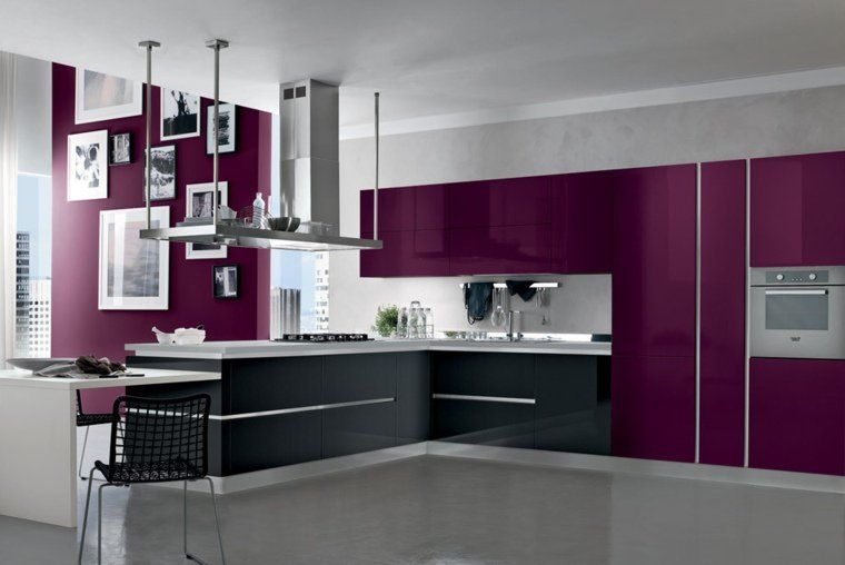 cuisine couleur aubergine inspirations violettes en 71 id es hotte aspirante ilot central. Black Bedroom Furniture Sets. Home Design Ideas