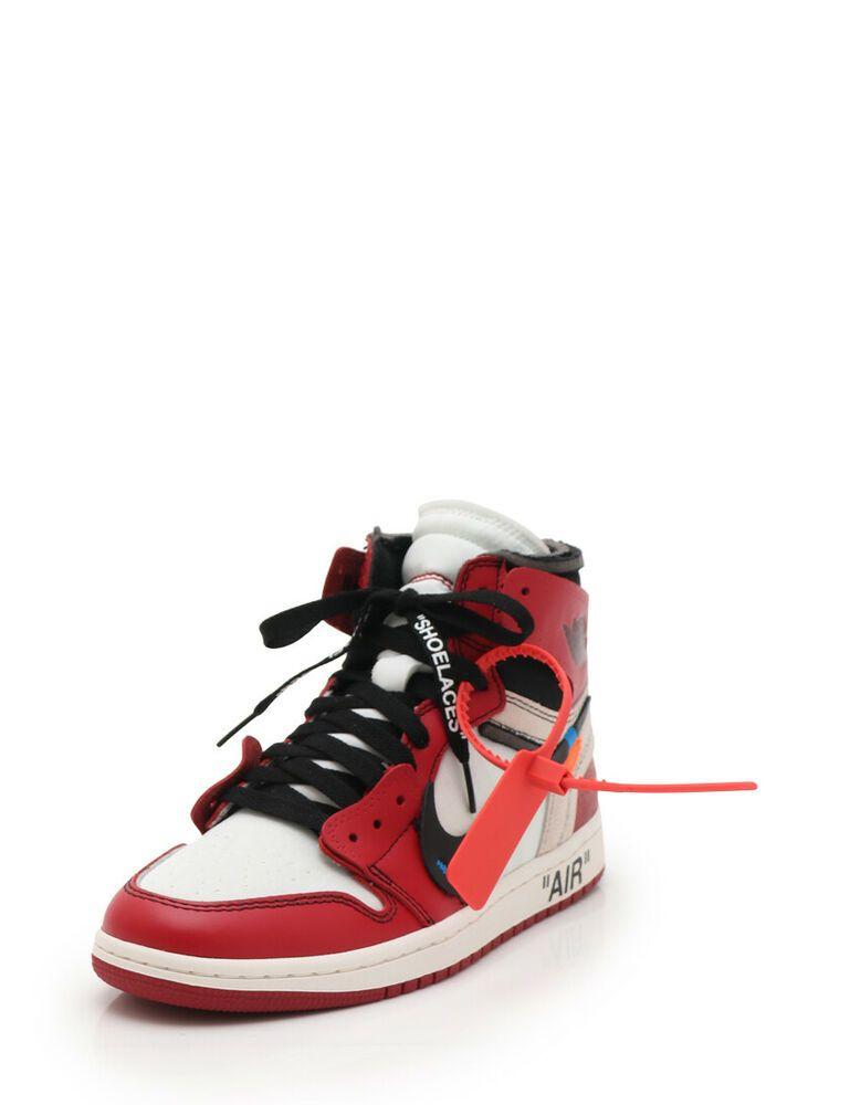 newest ac492 aab7d eBay  Sponsored OFF-WHITE x NIKE 10 AIR JORDAN 1 High-top sneakers white  red black
