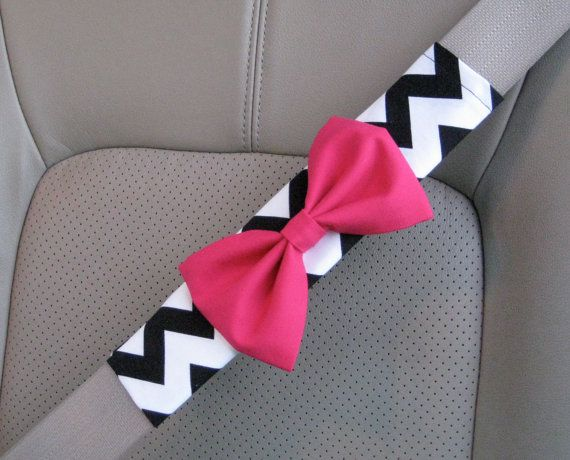 Girly Car Seat Covers: Seat Belt Cover Bow, Custom Seatbelt Cover With Bow, Black